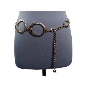 Metal Chain Belt Silvertone Textured Artsy